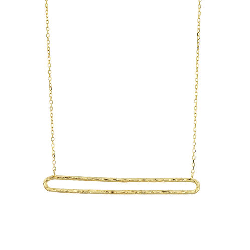14K Gold Open Rounded Bar Necklace