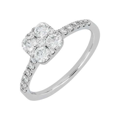 Cushion Diamond  Cluster Ring