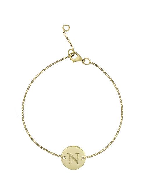 """14K Initial Bracelet - """"N"""""""