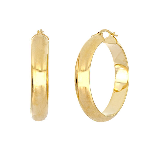 14K Gold Wide Smooth Hoops