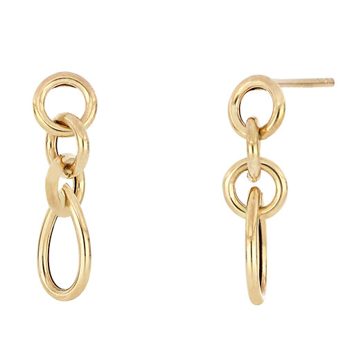 Bony Levy Gold Petite Round Link Drops