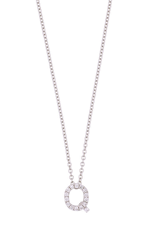 "Single Initial Diamond Pendant - ""Q"""