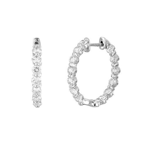 Milgrain Diamond Hoops