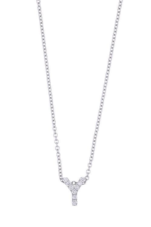 "Single Initial Diamond Pendant - ""Y"""