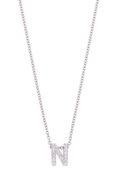 "Single Initial Diamond Pendant - ""N"""