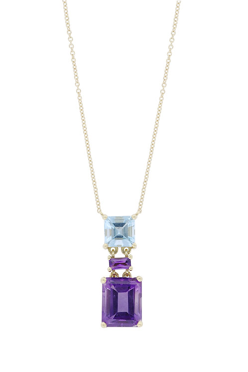 Aqua and Amethyst Duo Pedant