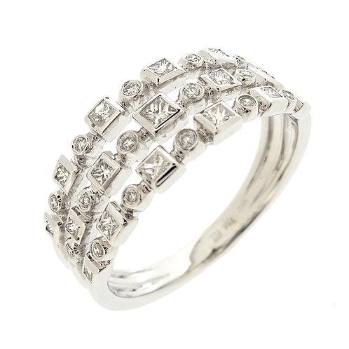 Maya Three Row Bezel Ring