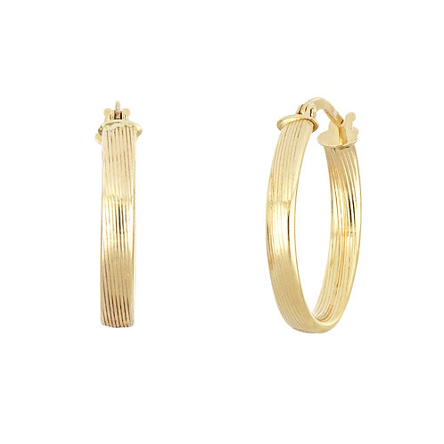 14K Gold Texture Oval Hoops
