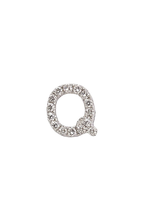 "Single Initial Diamond Stud - ""Q"""