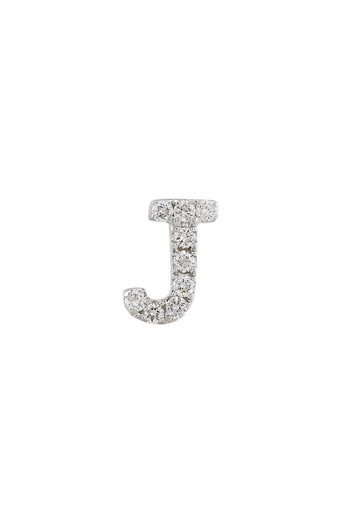 "Single Initial Diamond Stud - ""J"""