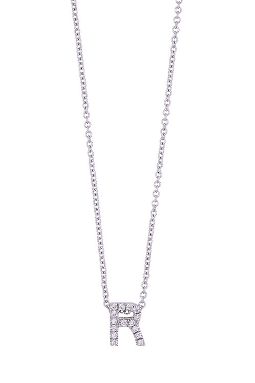 "Single Initial Diamond Pendant - ""R"""