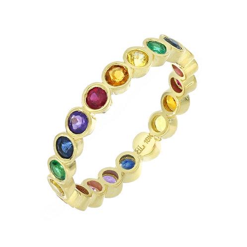 Rainbow Bezel Set Stone Eternity Ring