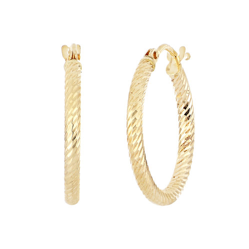 14K BONY LEVY GOLD 18MM TEXTURED HOOPS