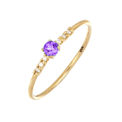 Iris Amethyst and Diamond Delicate Ring