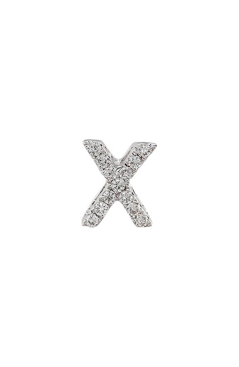 "Single Initial Diamond Stud - ""X"""