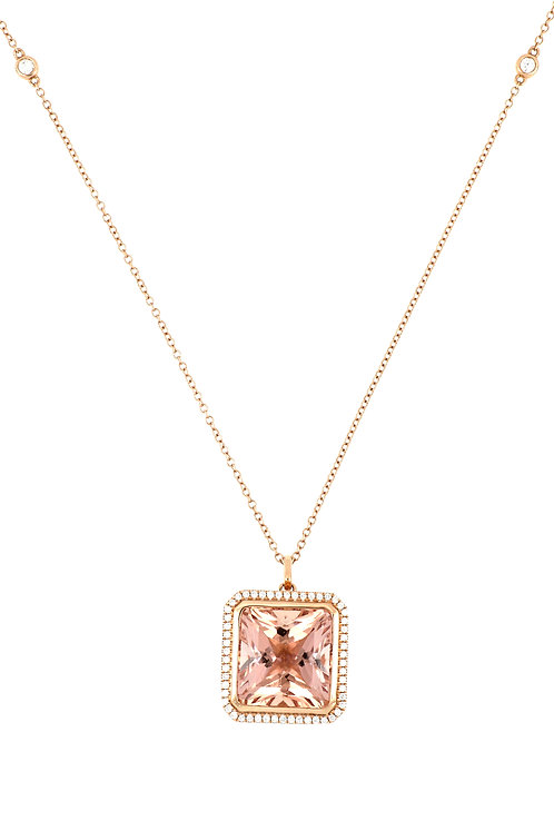 Morganite Square Pendant