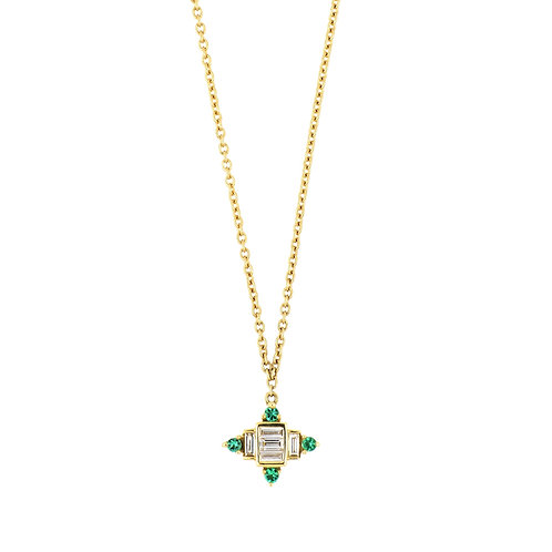 El Mar Emerald and Diamond Baugette Pendant
