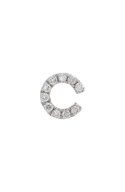 "Single Initial Diamond Stud - ""C"""