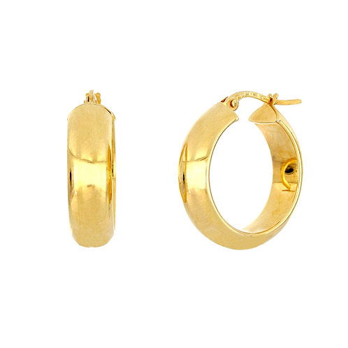 14K Rounded Flat Hoops