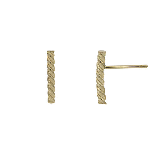 Bony Levy Gold Twisted Bar Stud Earrings