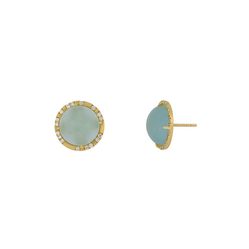 Milky Aqua Full Moon Earrings