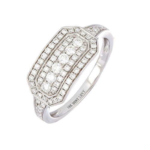 Deco Diamond Wide Band Ring