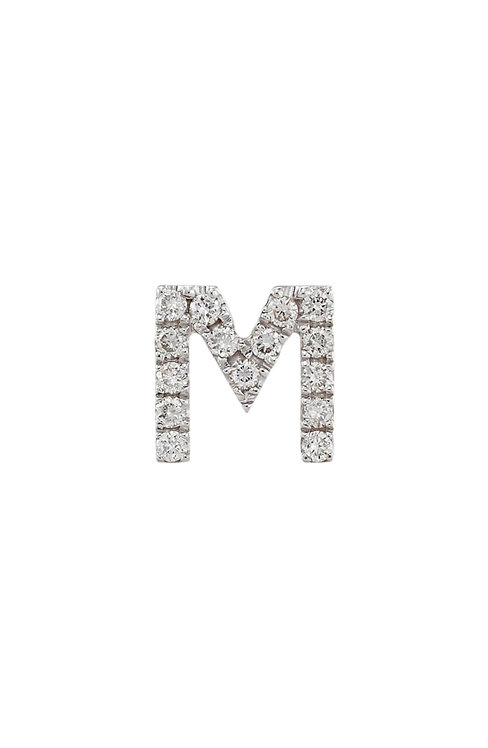 "Single Initial Diamond Stud - ""M"""