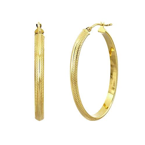 14K Gold Textured Long Hoops