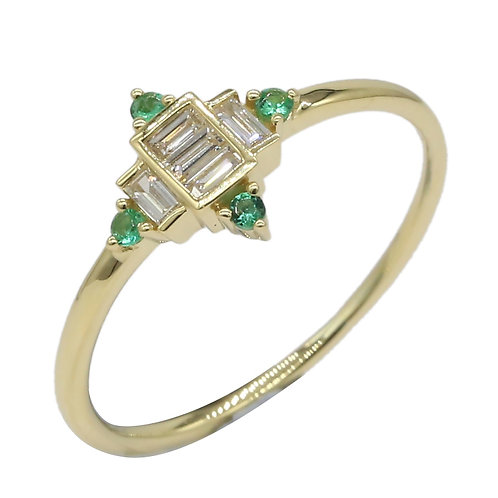 El Mar Emerald and Diamond Baugette Shaped Ring