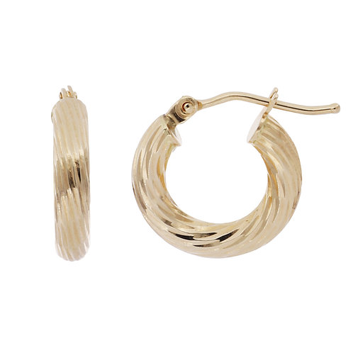 Bony Levy Gold Wide Textured Hoops
