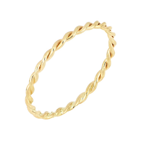 14K Ultra Thin Twisted Stack Band