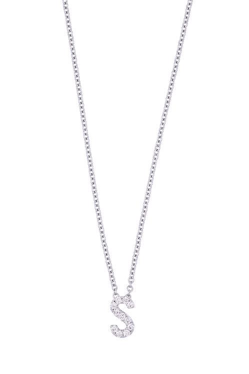 "Single Initial Diamond Pendant - ""S"""