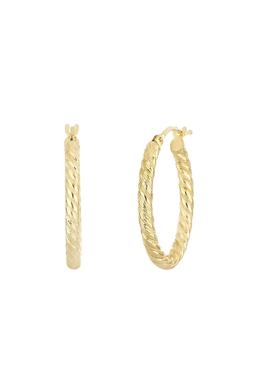 BONY LEVY GOLD OVAL TEXTURED HOOPS