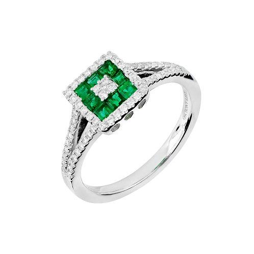 Princess Cut Emerald Ring