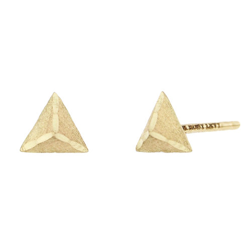Bony Levy Gold Brushed Pyramid Studs