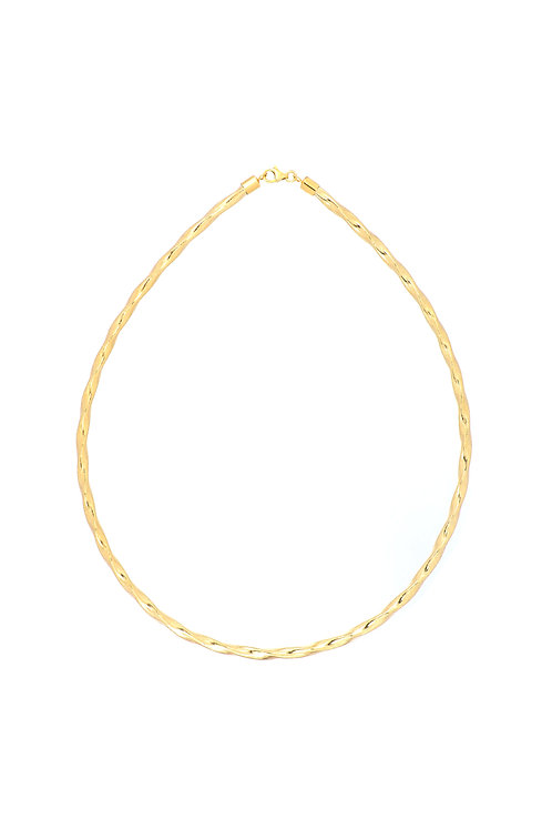 14K Gold Twisted Omega Necklace