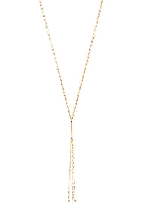 14K Gold Lariat Fringe Chain Necklace