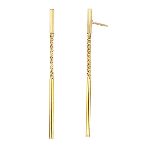 Bony Levy Gold Bar Chain Linear Earrings