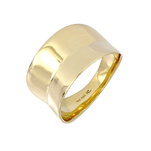 14K Gold Concave Wide Band Ring