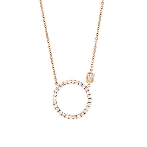 Asymmetric Diamond Circle Pendant