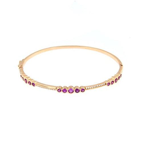 Pink Sapphire Bezel Set Bangle