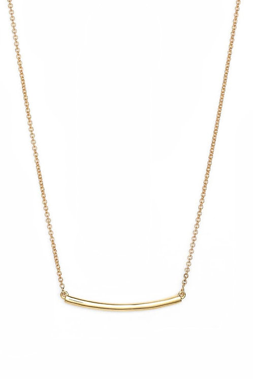 14K Gold Curved Bar Pendant