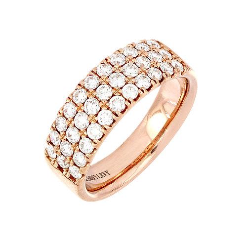 Three Row Diamond Wide Band Ring