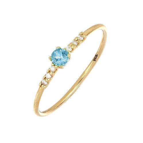 Iris Aquamarine and Diamond Delicate Ring