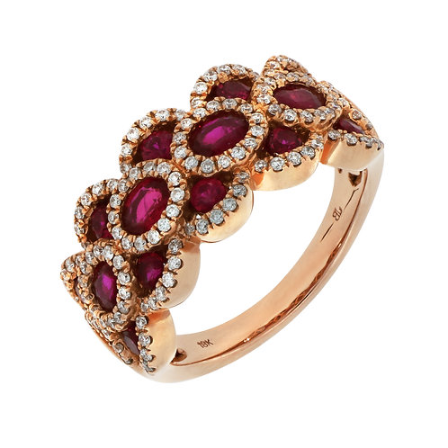Woven Ruby Cocktail Ring
