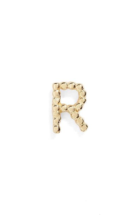 "Single Initial 14K Stud - ""R"""