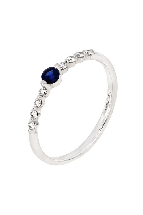 EL MAR SAPPHIRE CENTER AND DIAMOND STACK RING