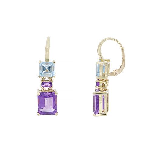 Aqua and Amethyst Duo Earring
