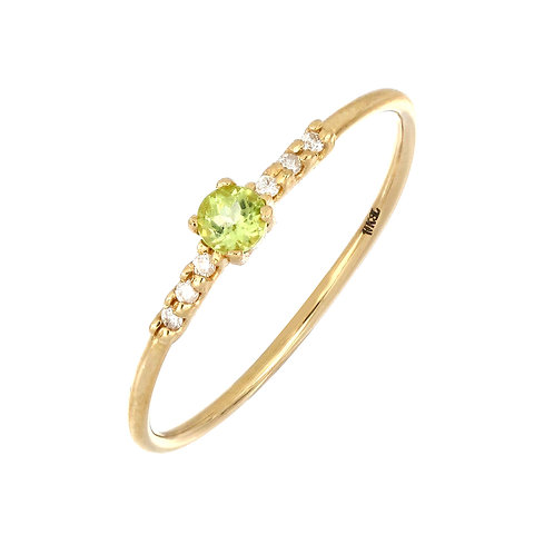 Iris Peridot and Diamond Delicate Ring