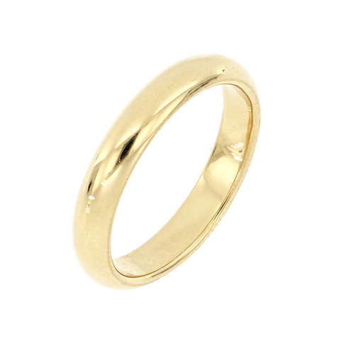 14K Gold Smooth Rounded 4MM Band